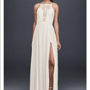New with tags NBD open back white lace dress